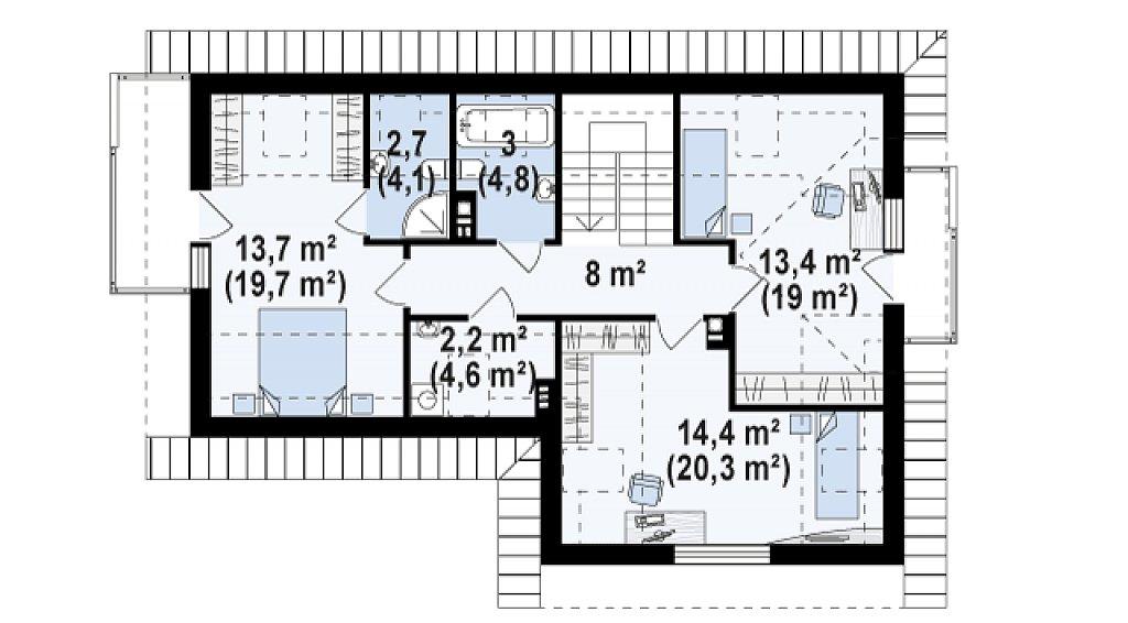 Версия проекта Z150 с гаражом вместо дополнительного помещения. план помещений 2