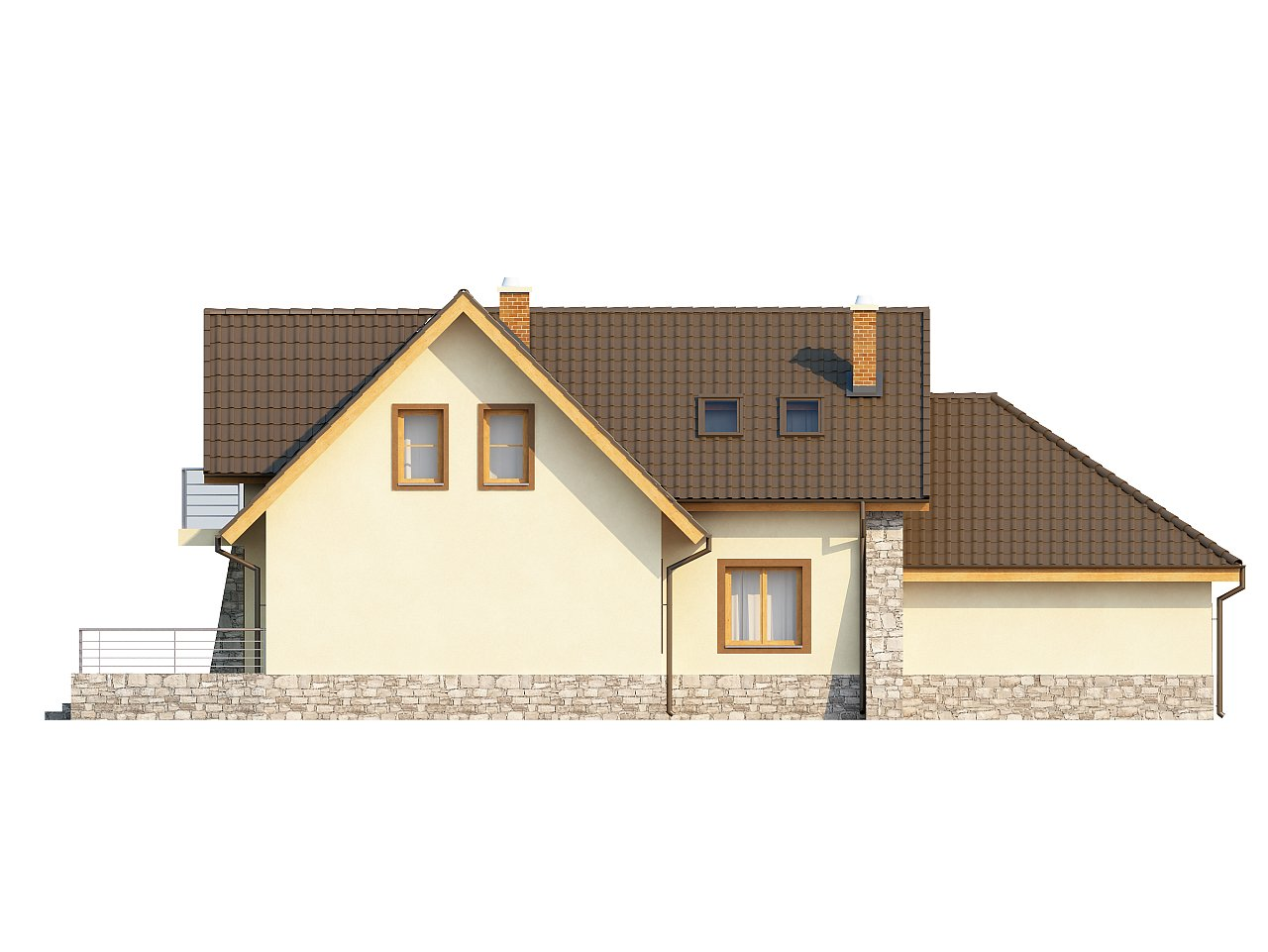 Проект традиционного дома с гаражом для двух машин и боковой террасой. 6
