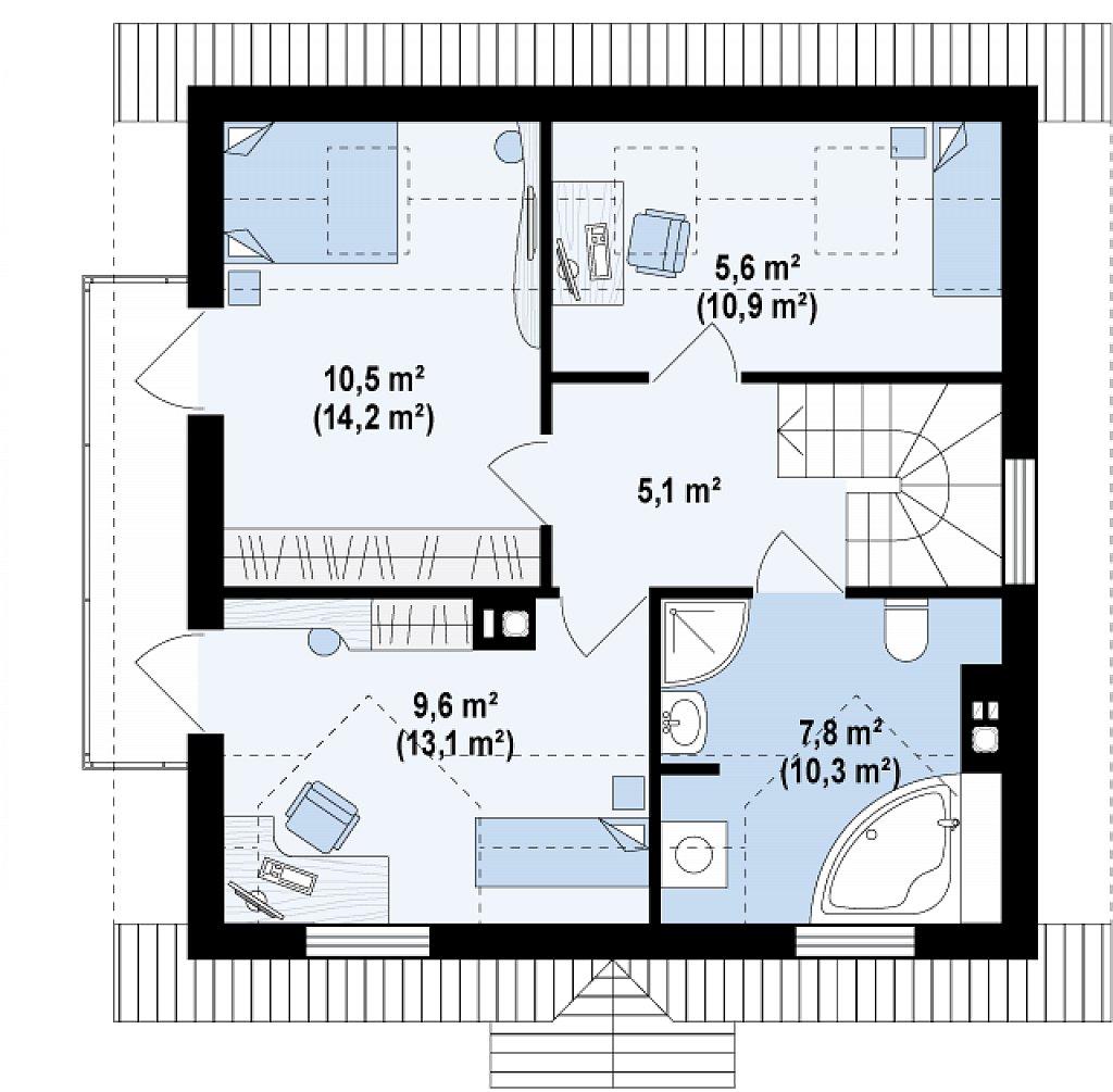 Компактный дом в традиционном стиле с двускатной крышей и красивыми мансардными окнами. план помещений 2