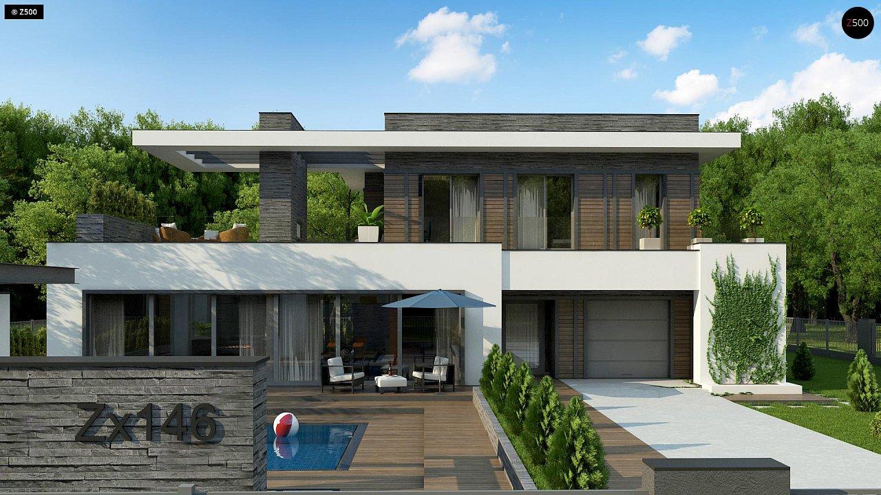 Стильный дом в современном стиле с просторной террасой на втором этаже. 2