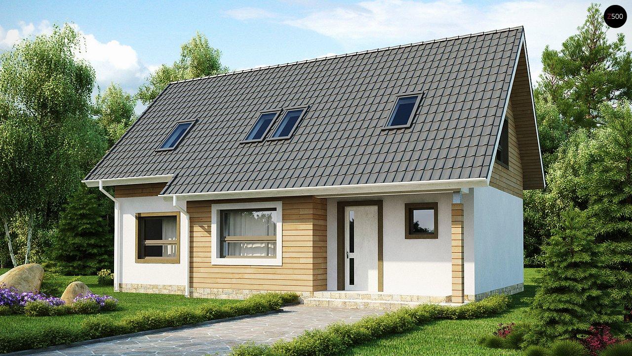 Традиционный дом простой формы с двускатной крышей, с дополнительной комнатой на первом этаже. 2