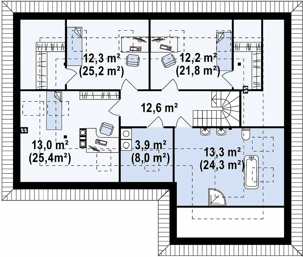 Просторный дом традиционной формы с гаражом и дополнительной небольшой ночной зоной на первом этаже. план помещений 2