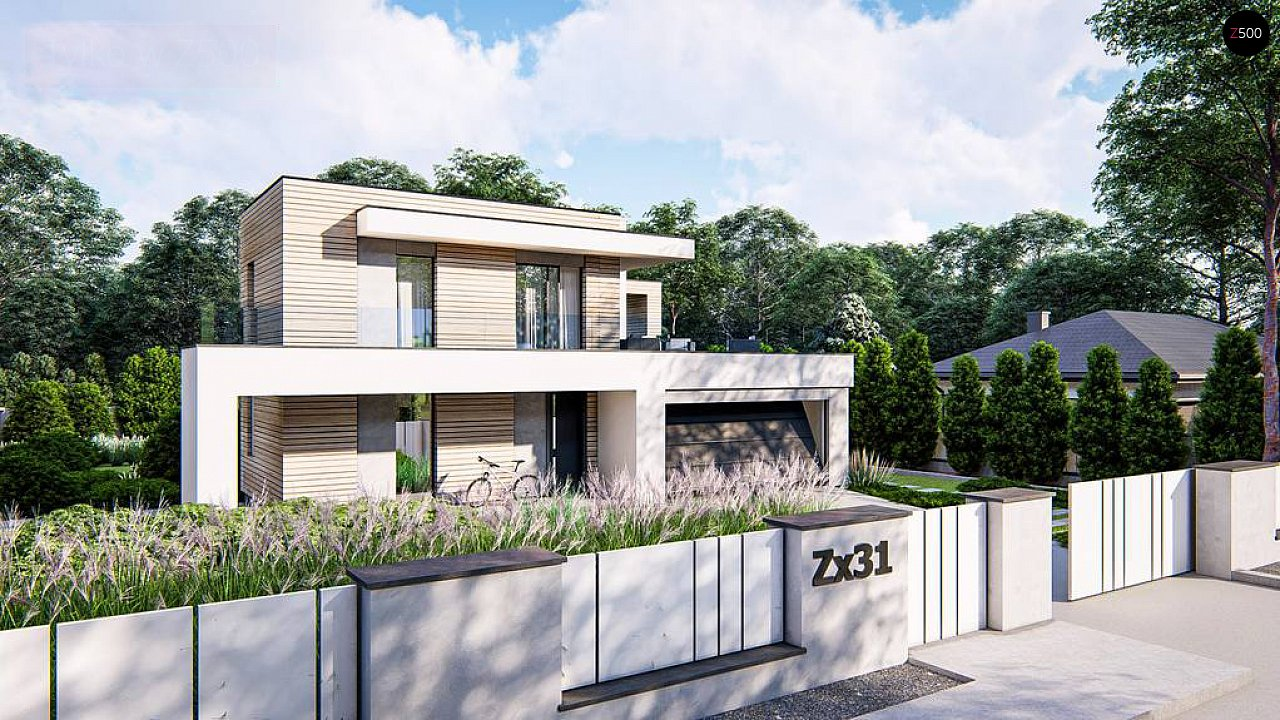 Современный двухэтажный дом с плоской крышей и гаражом на 2 машины. 3
