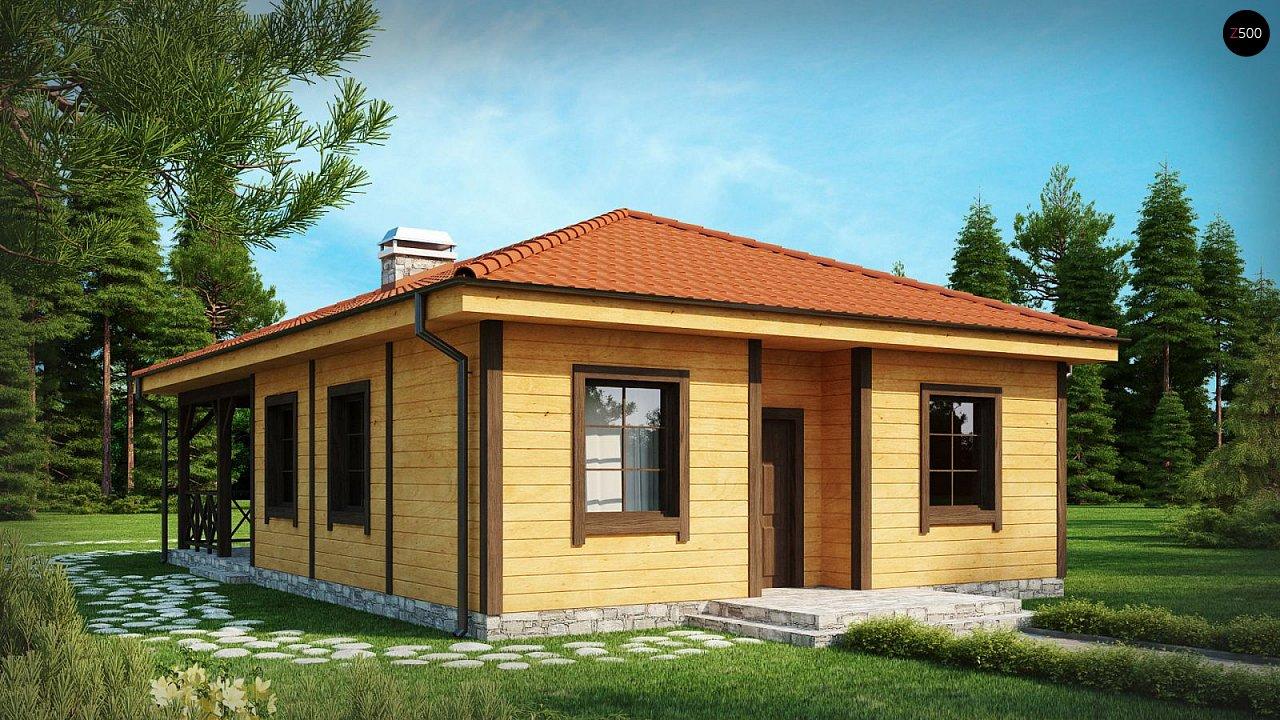 Аккуратный одноэтажный дом с деревянной облицовкой фасадов, адаптированный для каркасной технологии. 2
