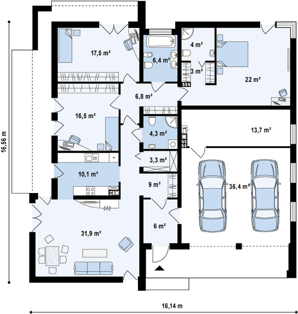 Подвариант одноэтажного дома Zx49 с гаражом для двух машин. план помещений 1