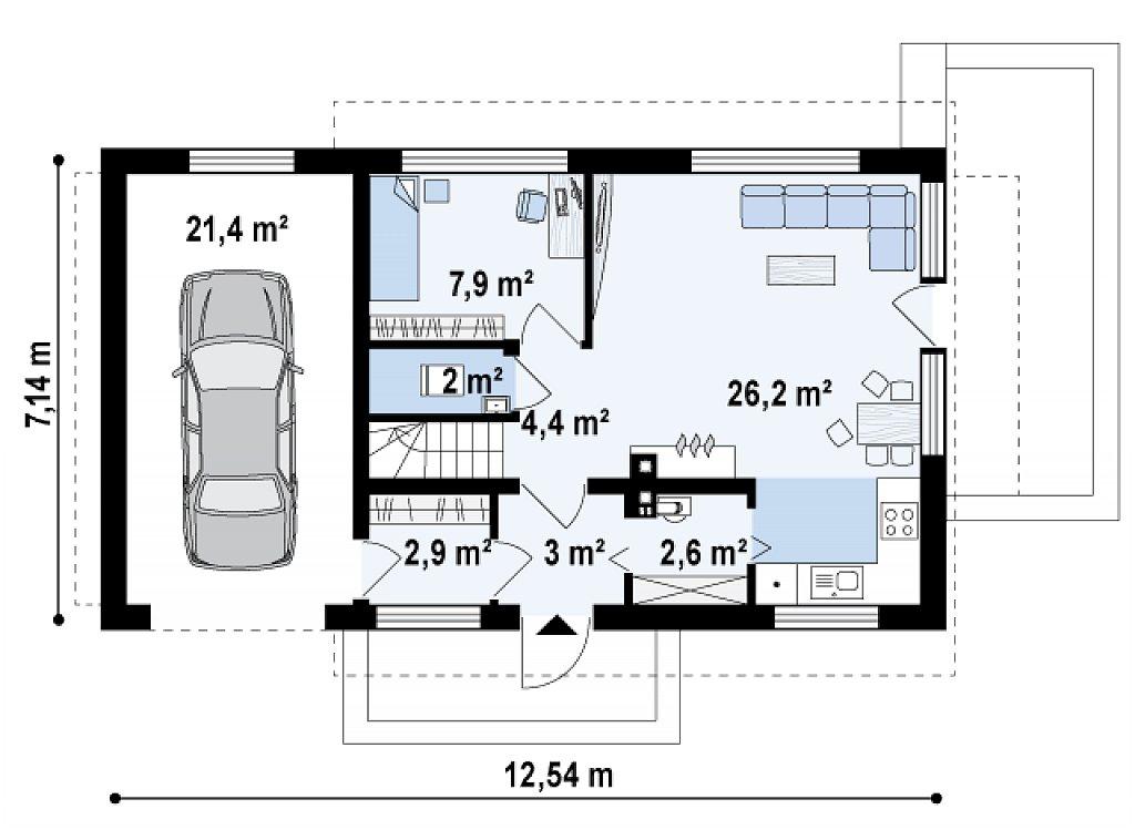 Версия проекта Z211 с гаражом для одного авто слева. план помещений 1
