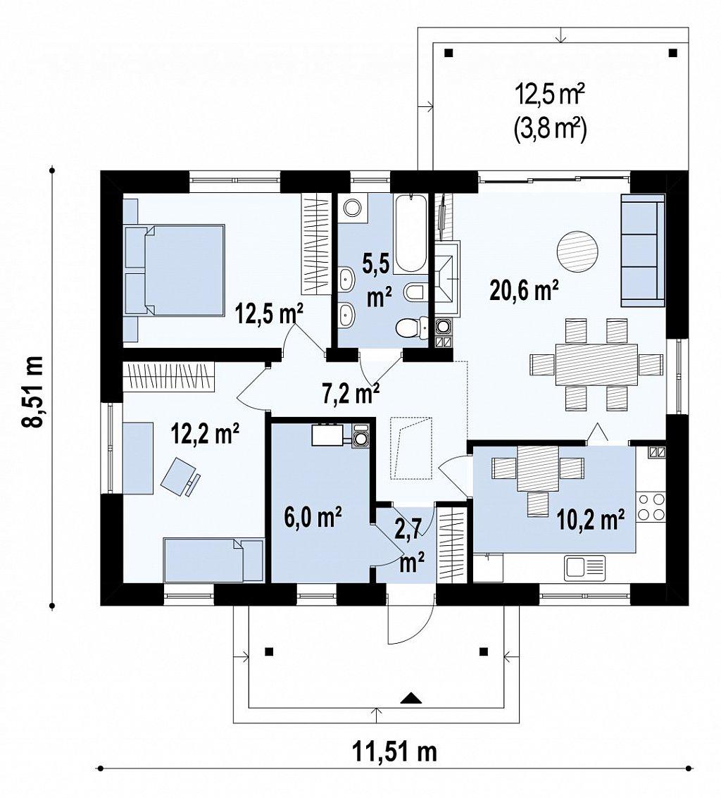 Компактный, уютный одноэтажный дом с двускатной крышей. план помещений 1