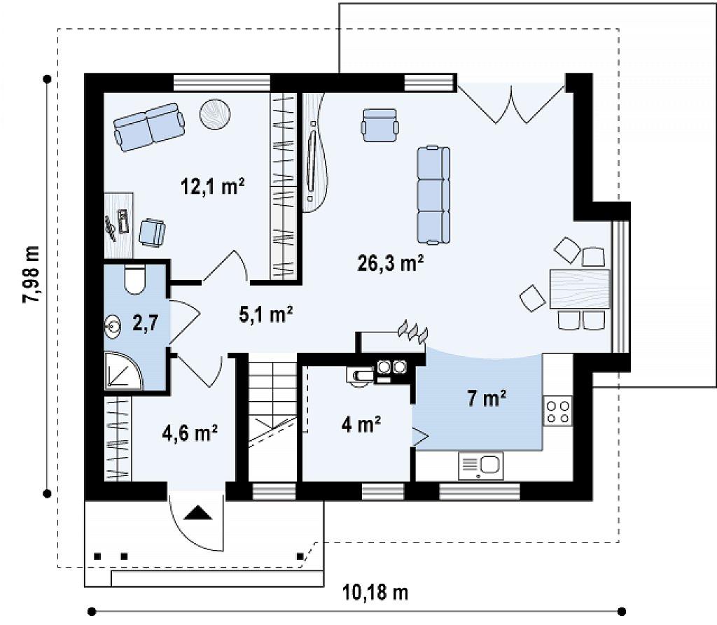 Небольшой дом с дополнительной комнатой на первом этаже, большим хозяйственным помещением и эркером в столовой. план помещений 1