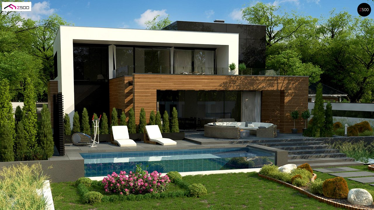Двухэтажный коттедж с плоской крышей и большой террасой 3
