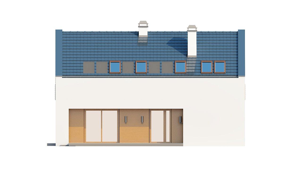 Современный функциональный дом с гаражом, с оригинальным выступом над входом. 23