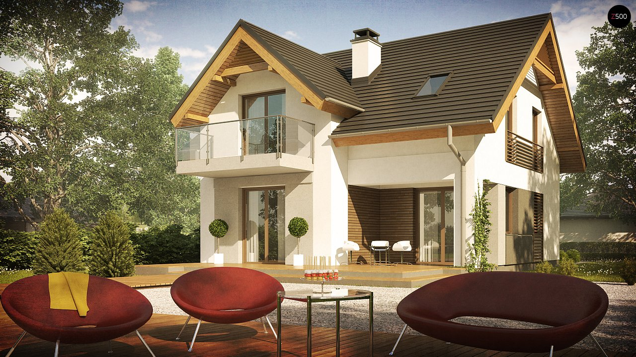 Небольшой стильный и практичный дом с мансардными окнами. - фото 3