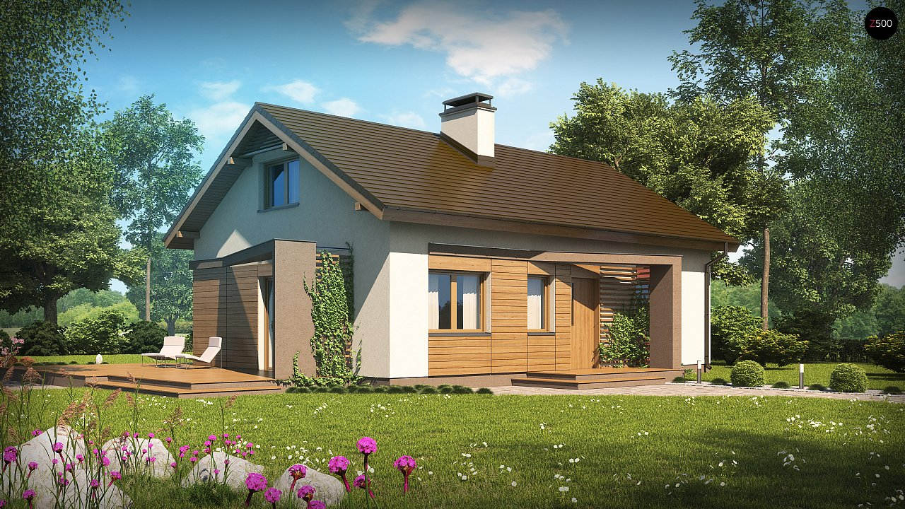 Небольшой одноэтажный дом с оригинальным оформлением террас. 1