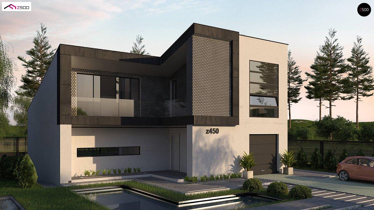 Проект современного двухэтажного дома с оригинальным экстерьером и гаражом на один автомобиль. 1