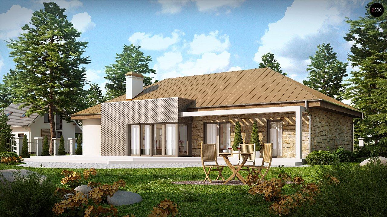 Проект одноэтажного дома с гаражом, с четко выделенной приватной зоной. 2