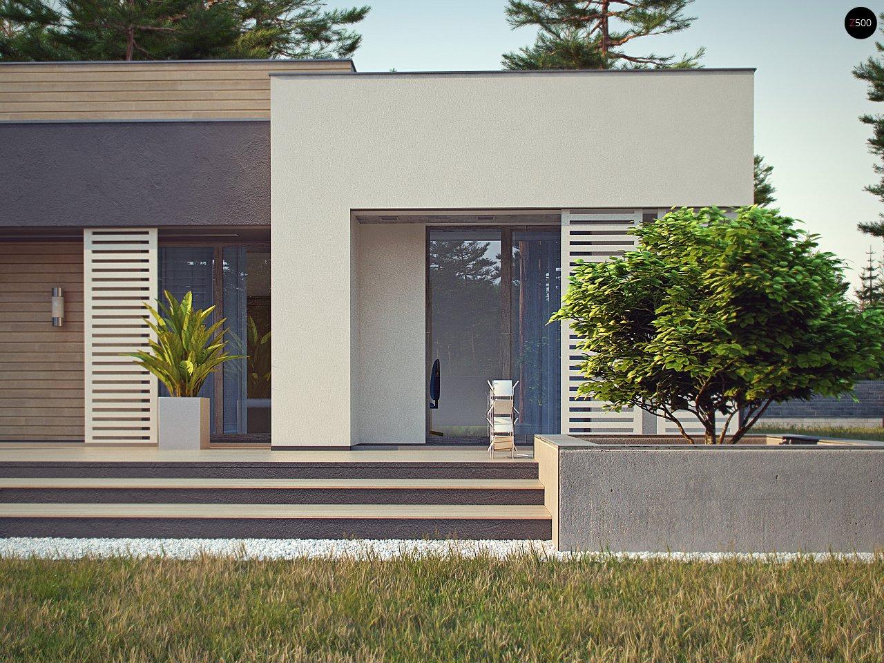 Одноэтажный дом в стиле хай-тек с плоской кровлей и большой площадью остекления. 7