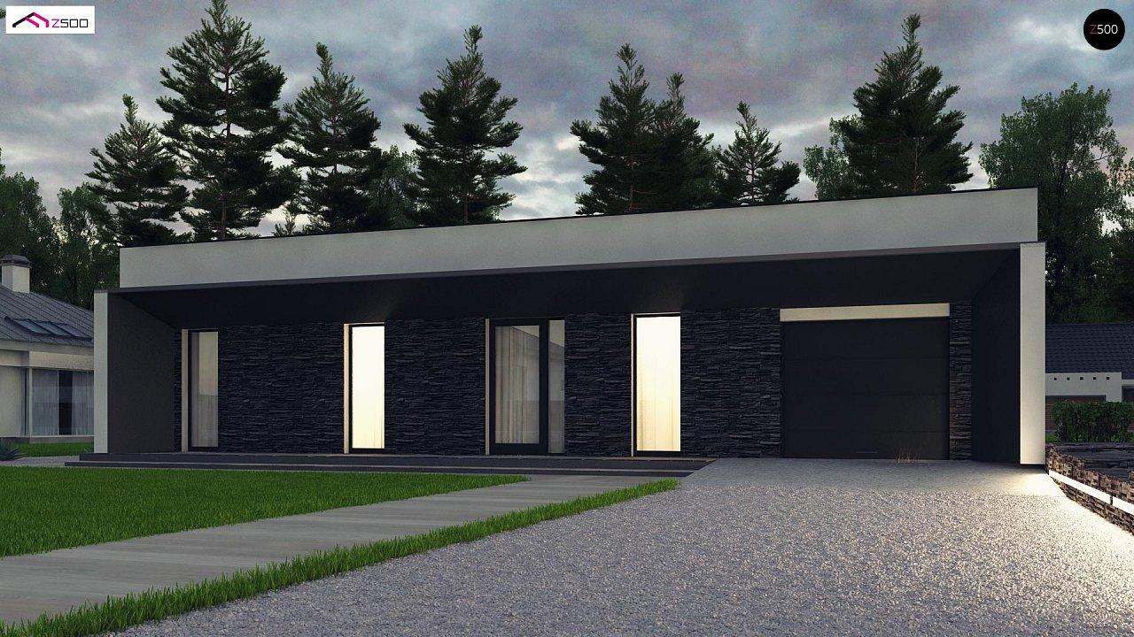 Современный одноэтажный дом с плоской крышей и гаражом на один автомобиль. - фото 5