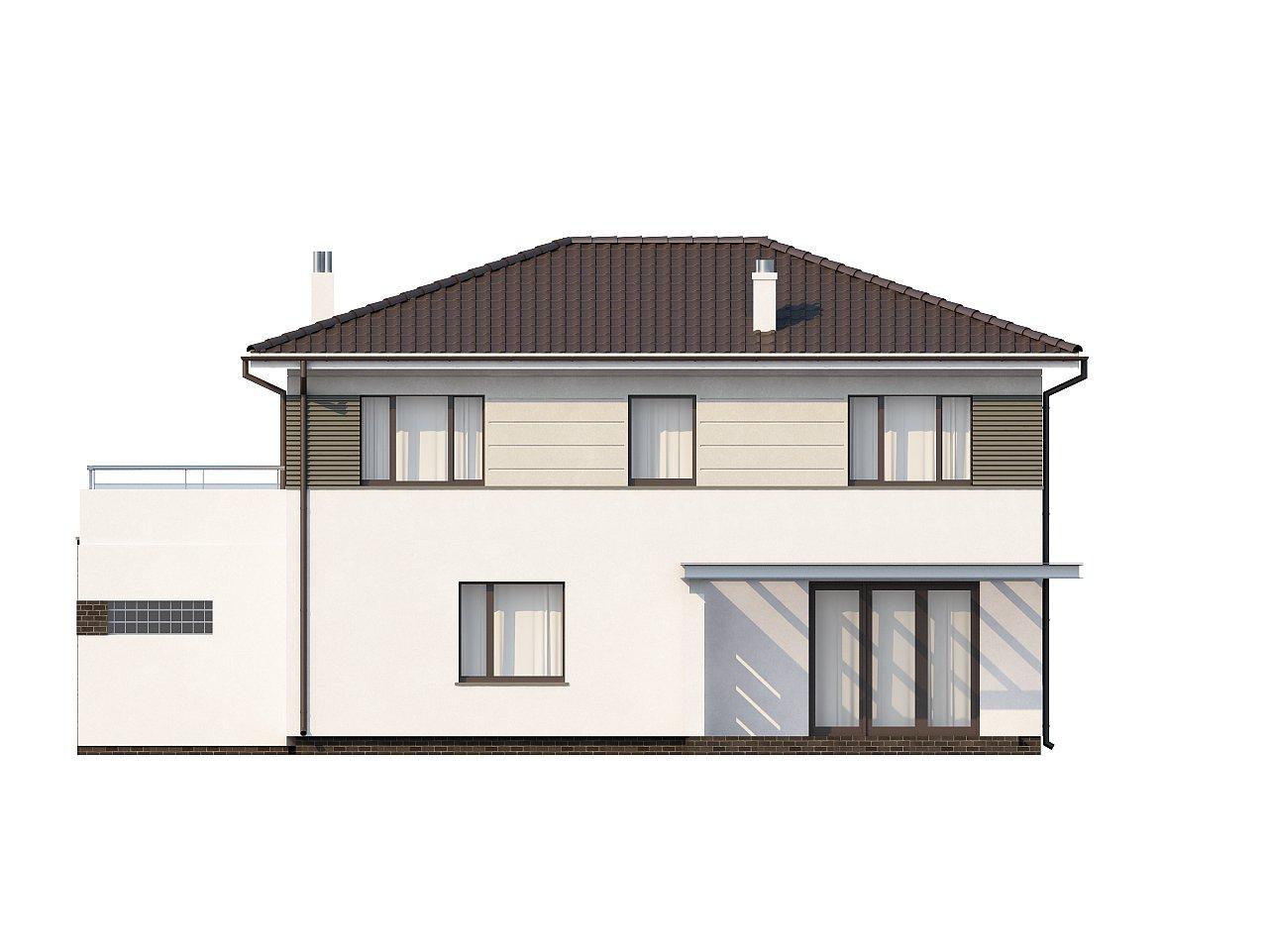 Практичный двухэтажный дом простой формы с низкой крышей, с гаражом для двух автомобилей. - фото 5