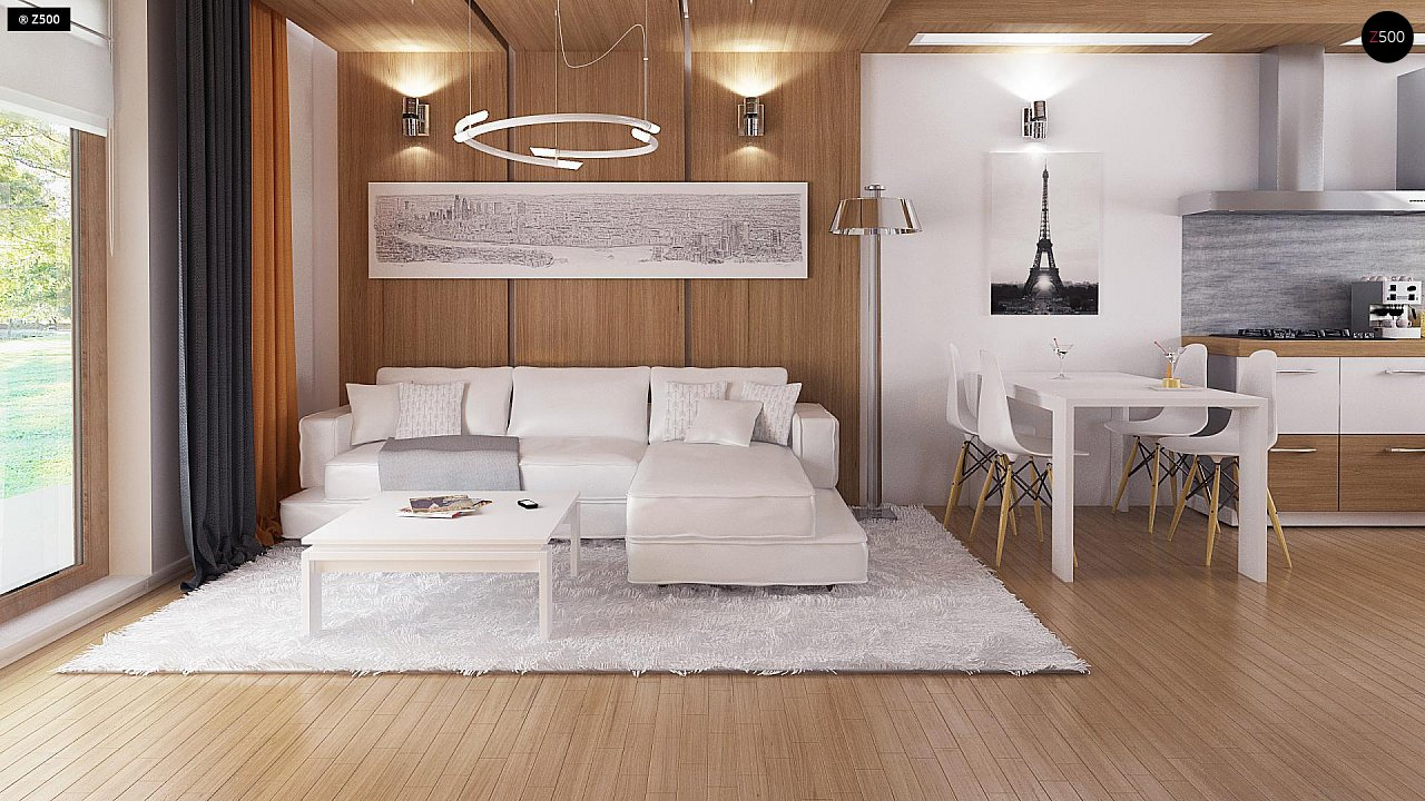 Экономичный в реализации одноэтажный дом с просторной гостиной и двумя спальнями. 3