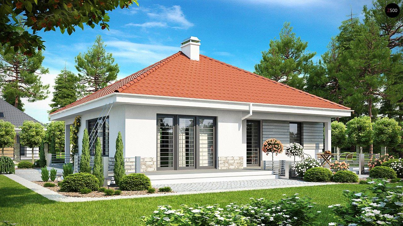 Проект компактного и функционального одноэтажного дома с фронтальным расположением дневной зоны. 2