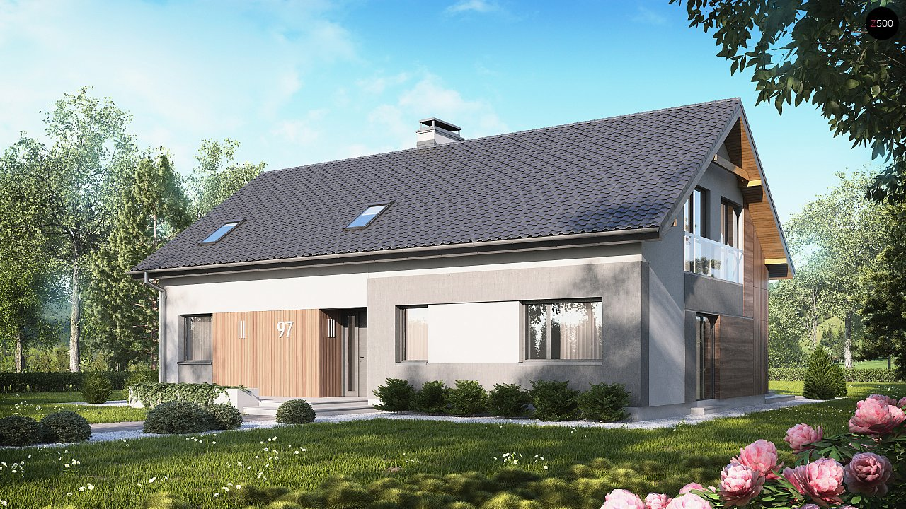 Проект двухсемейного дома с отдельной удобной «квартирой» площадью 58 м2. 1