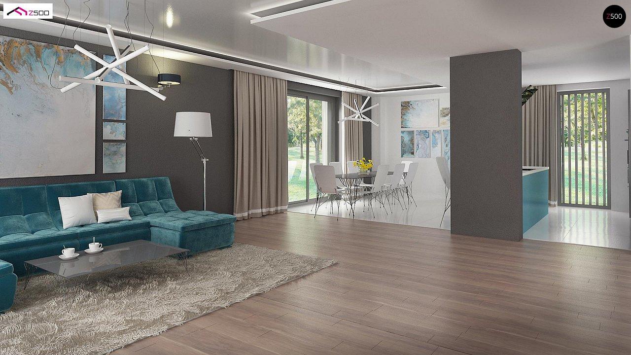 Красивый и комфортный дом с плоской кровлей, гаражом на две машины и просторными террасами. - фото 9