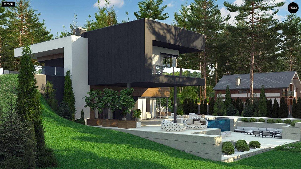 Проект современного двухэтажного дома. Проект подойдет для строительства на участке со склоном. - фото 4