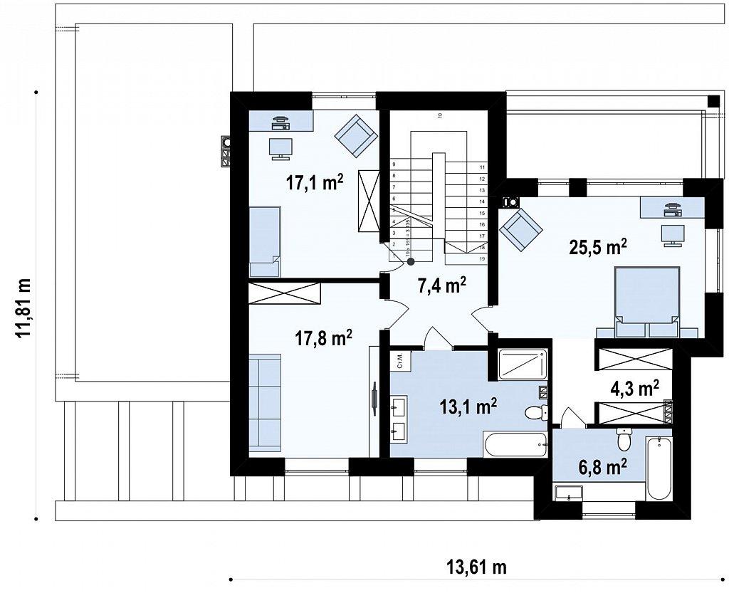 Проект двухэтажного дома простой формы с боковым гаражом план помещений 2