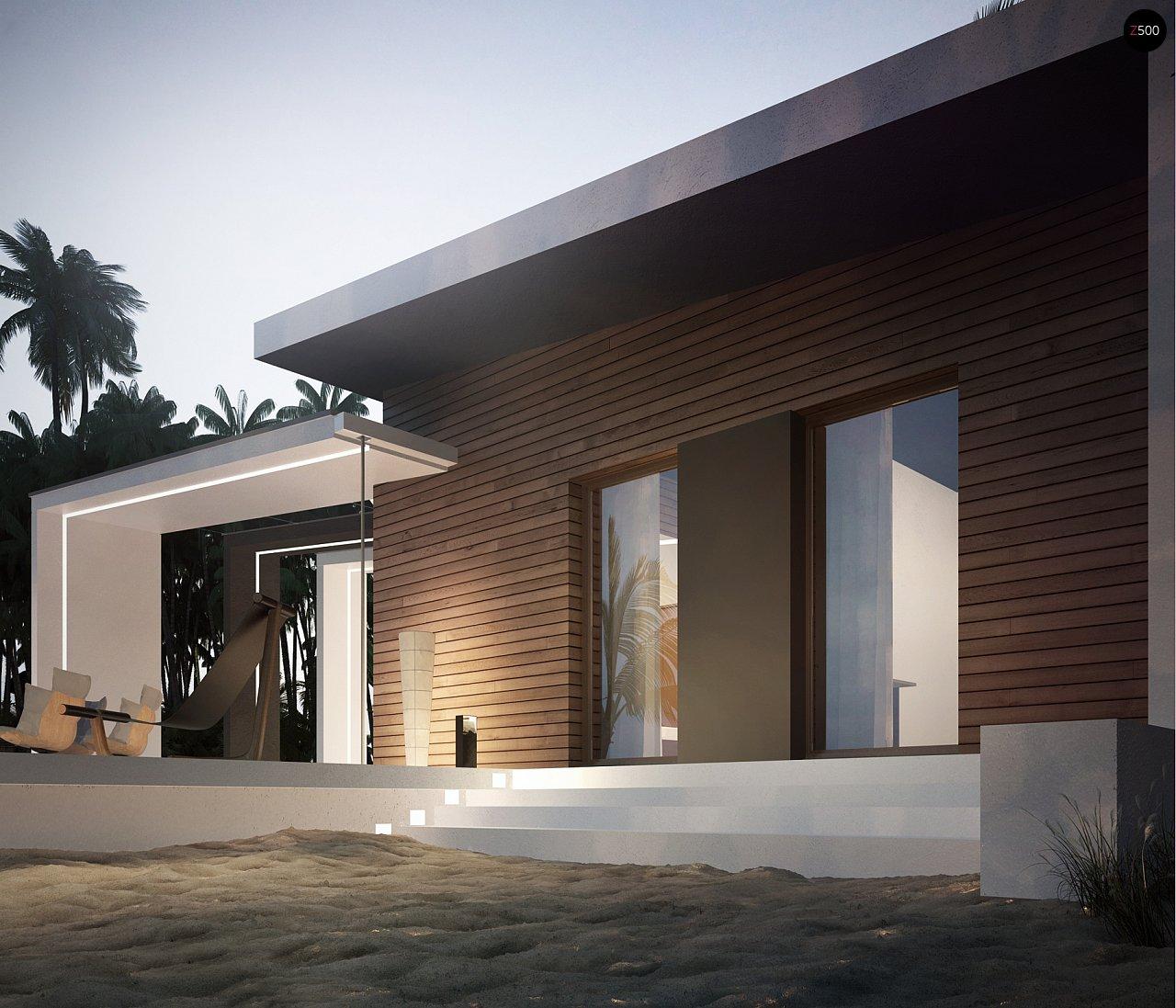 Современный и функциональный одноэтажный дом с уникальной архитектурной формой. 6