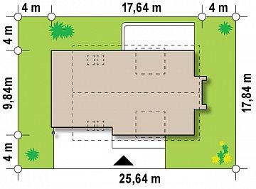 Версия проекта Z236 с увеличенным гаражом для двух автомобилей. план помещений 1