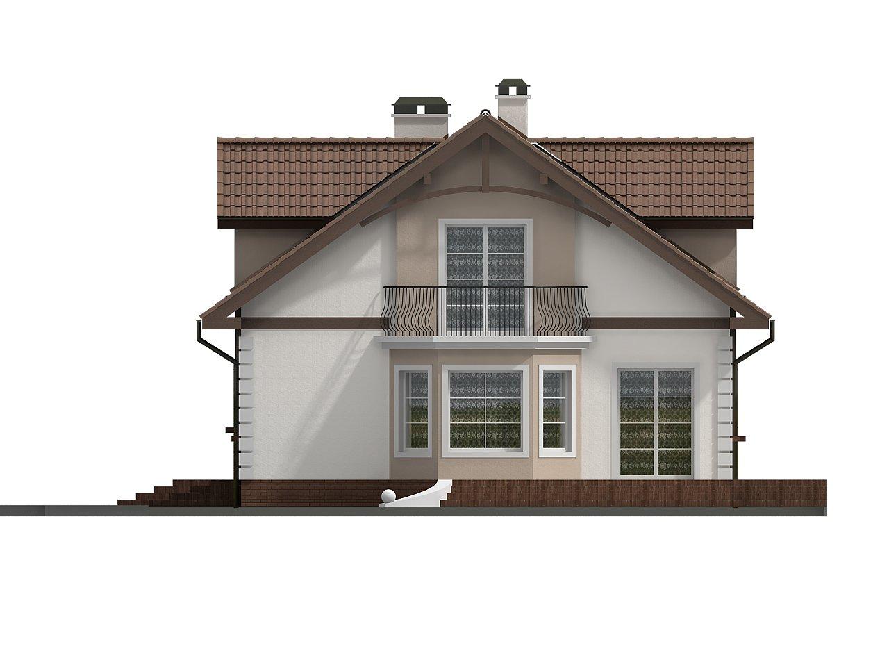 Элегантный дом с мансардой, эркером и балконом над ним. 3