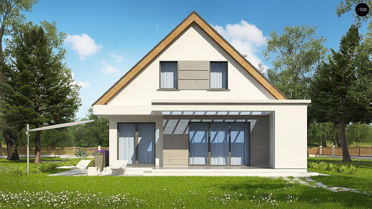 Проект классического мансардного дома с монохромным дизайном экстерьера 5