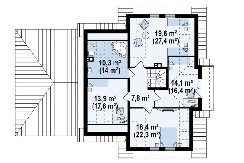 Проект традиционного дома с гаражом для двух машин и боковой террасой. план помещений 2