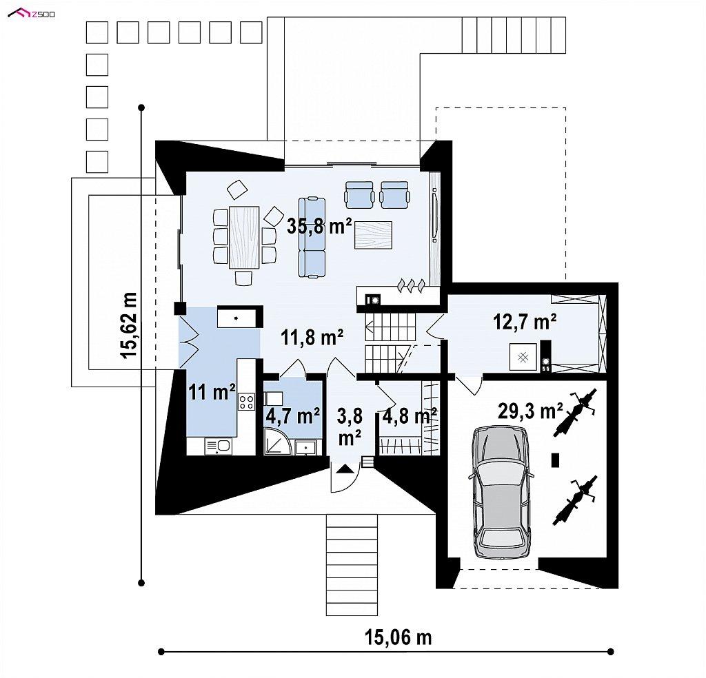 Проект современного коттеджа с цоколем и мансардой план помещений 1