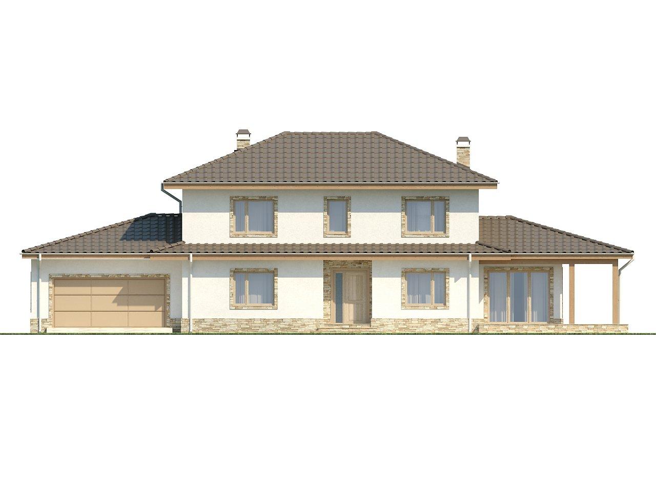 Просторная итальянская двухэтажная вилла с крытой боковой террасой и большим гаражом. - фото 3