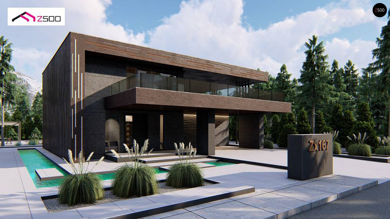 Современный двухэтажный дом с плоской кровлей и навесом для автомобиля - фото 2