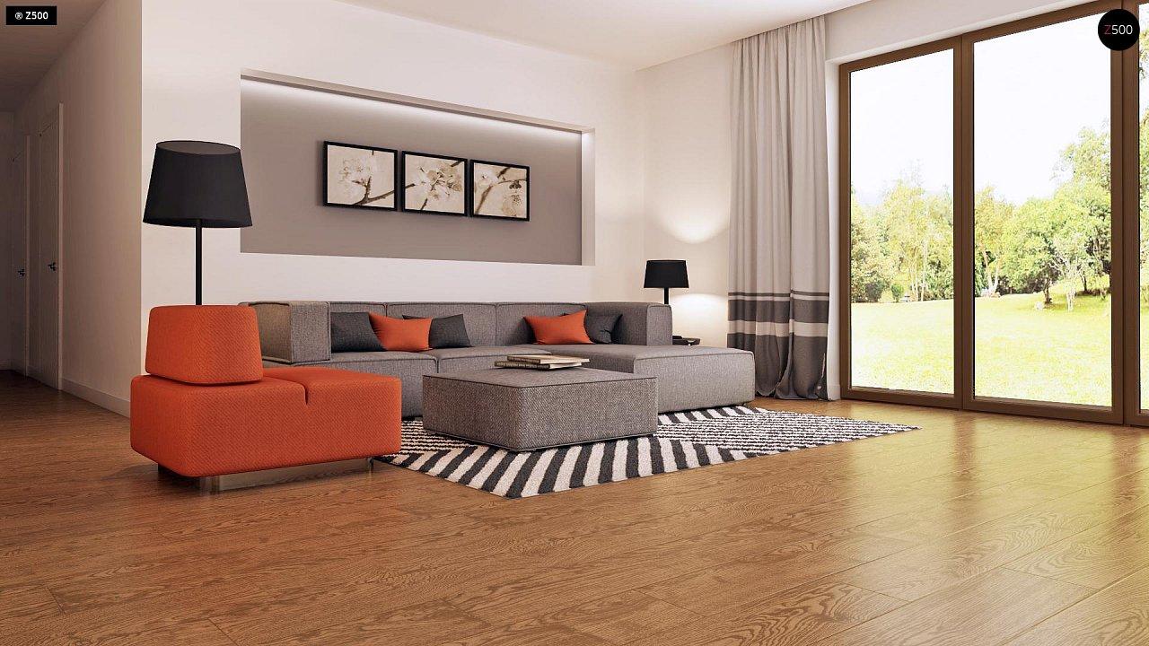 Функциональный одноэтажный дом с современными элементами отделки фасадов. - фото 5