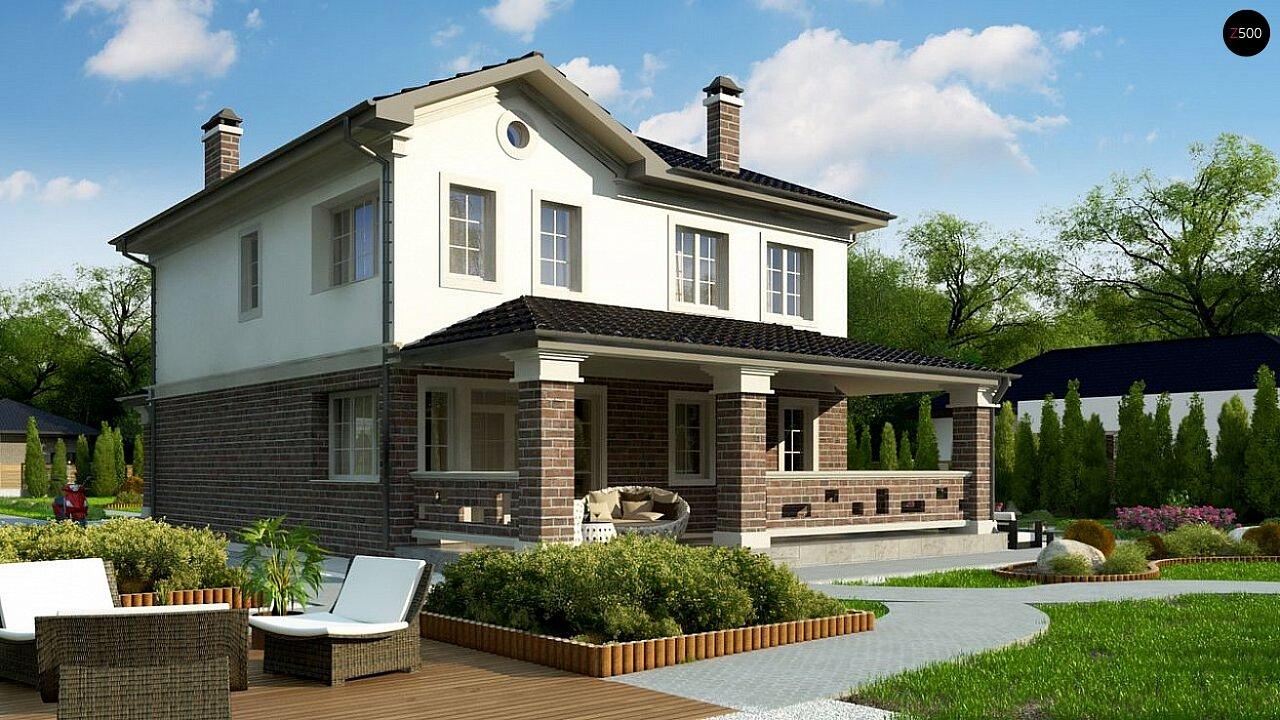 вариант двухэтажного дома Zz2 L BG в классическом стиле с плитами перекрытия - фото 4