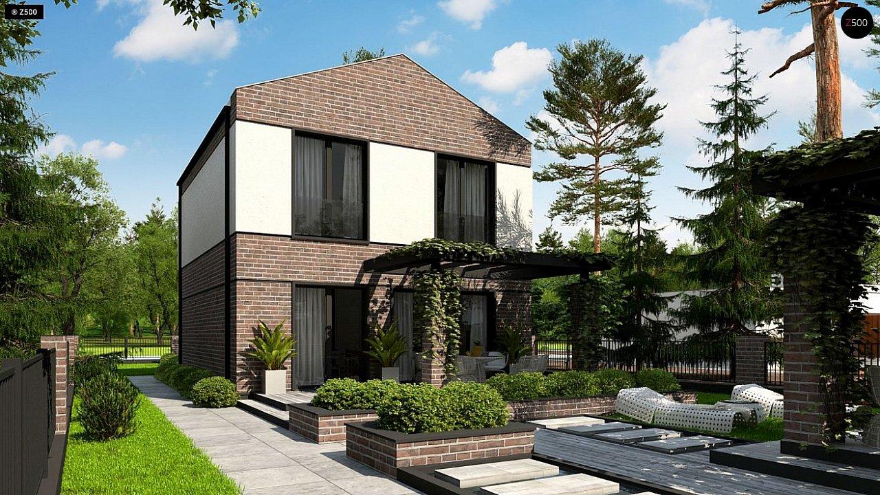 Проект компактного современного дома с двухуровневой планировкой и гаражом на один автомобиль. 4