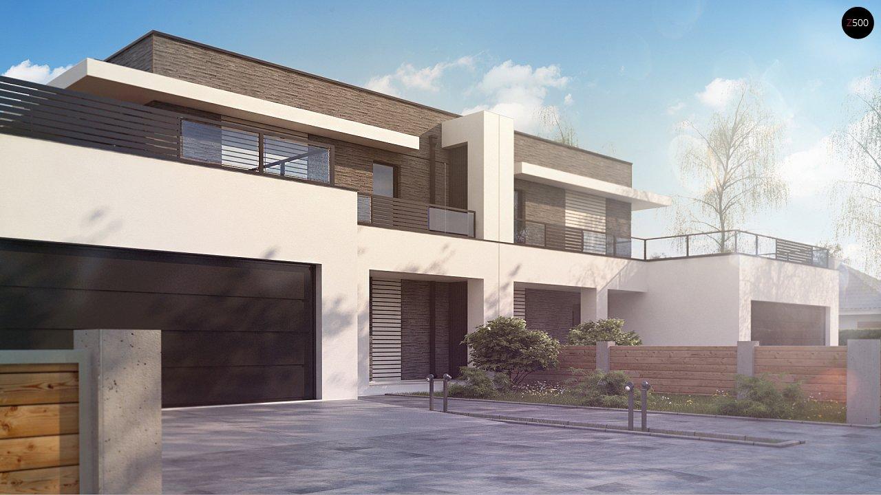 Современный проект домов-близнецов с большим гаражом и террасой на втором этаже. 6