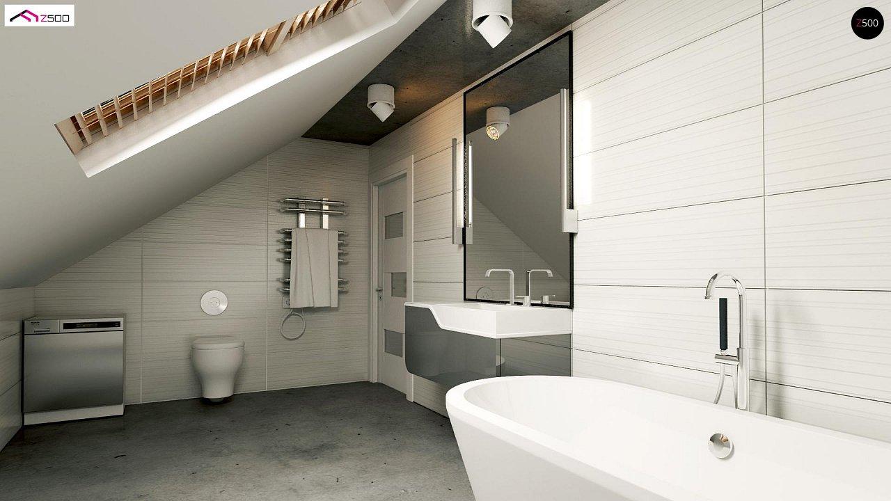 Проект дома с мансардой, с дополнительной спальней на первом этаже и с застекленной террасой. 3