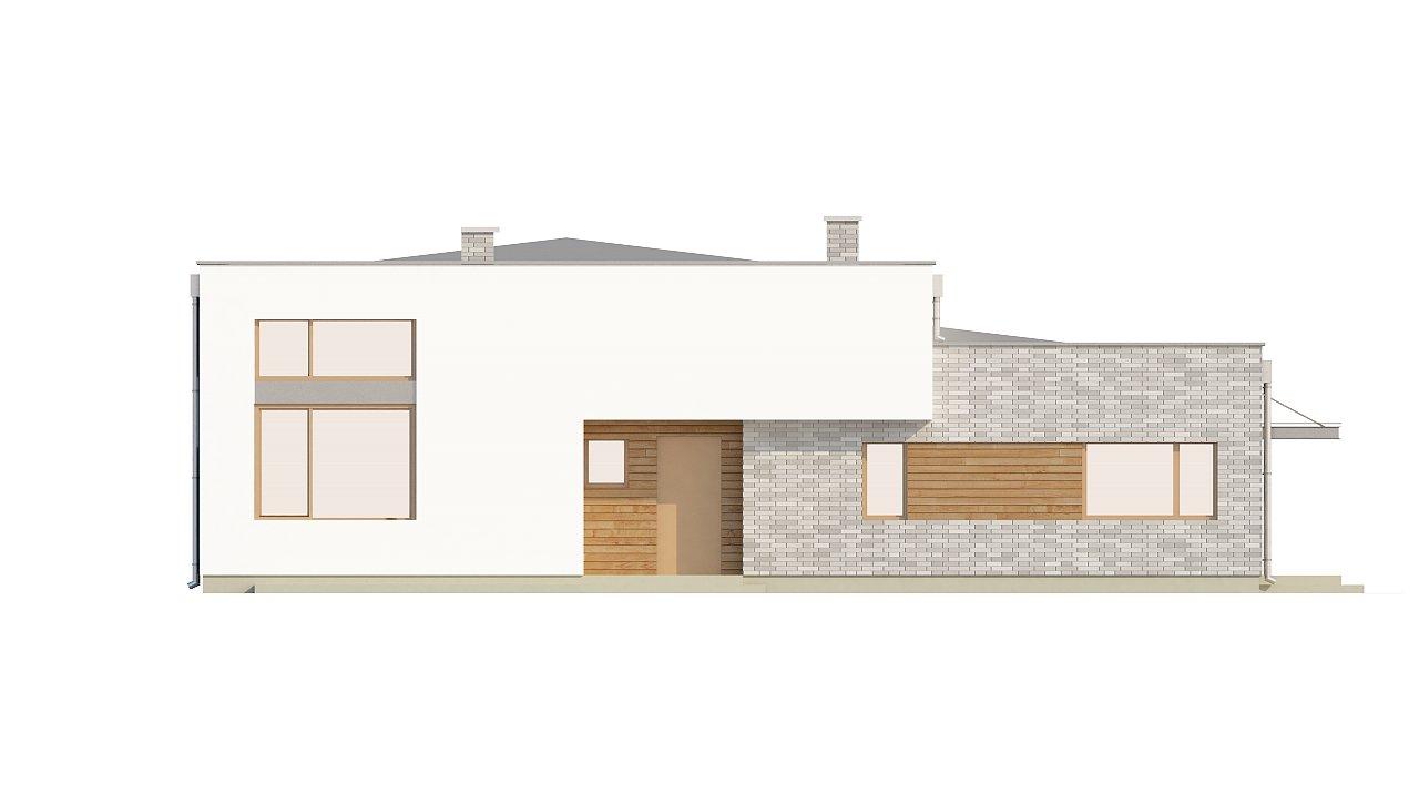 Одноэтажный практичный дом с плоской крышей современного дизайна. 16