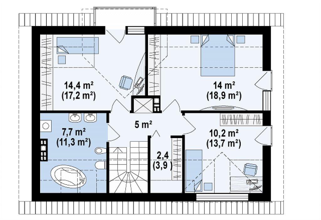 Традиционный дом с современными элементами архитектуры. план помещений 2