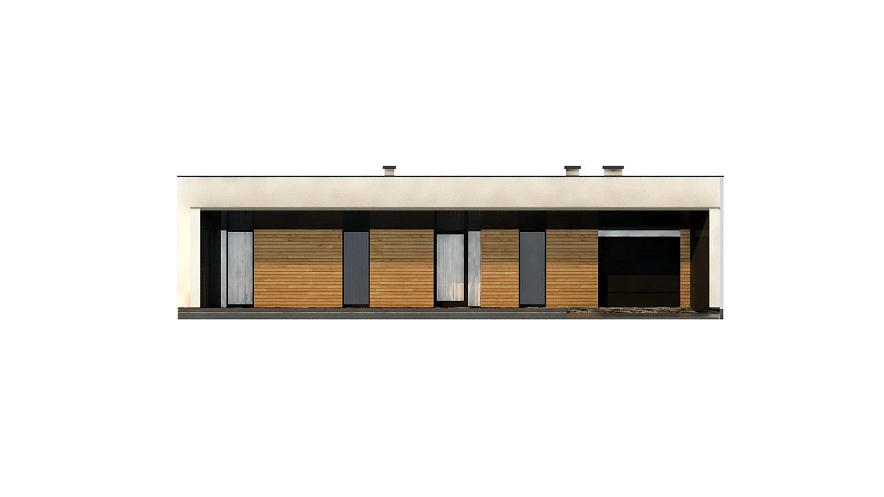 Современный одноэтажный дом с плоской крышей и гаражом на один автомобиль. - фото 7