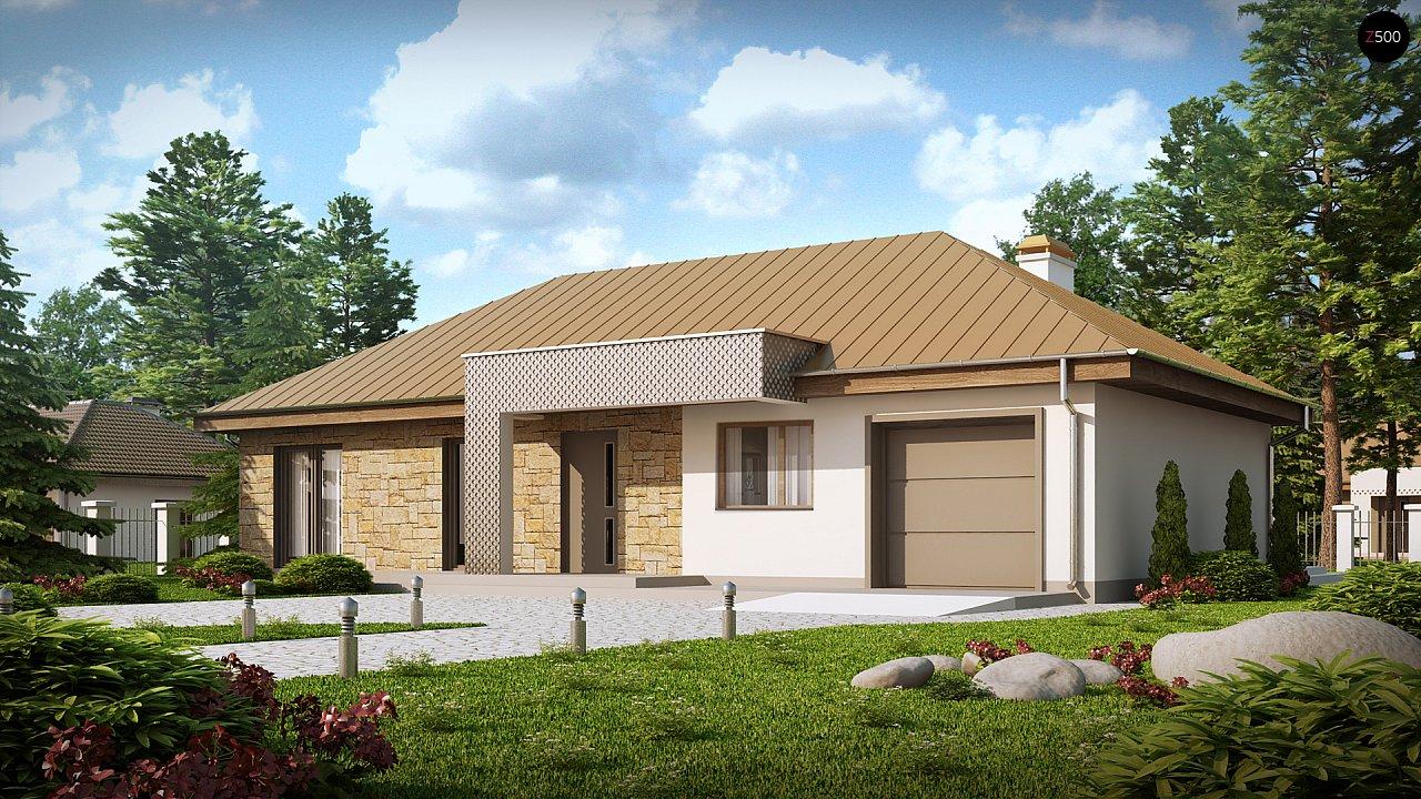 Проект одноэтажного дома с гаражом, с четко выделенной приватной зоной. 1