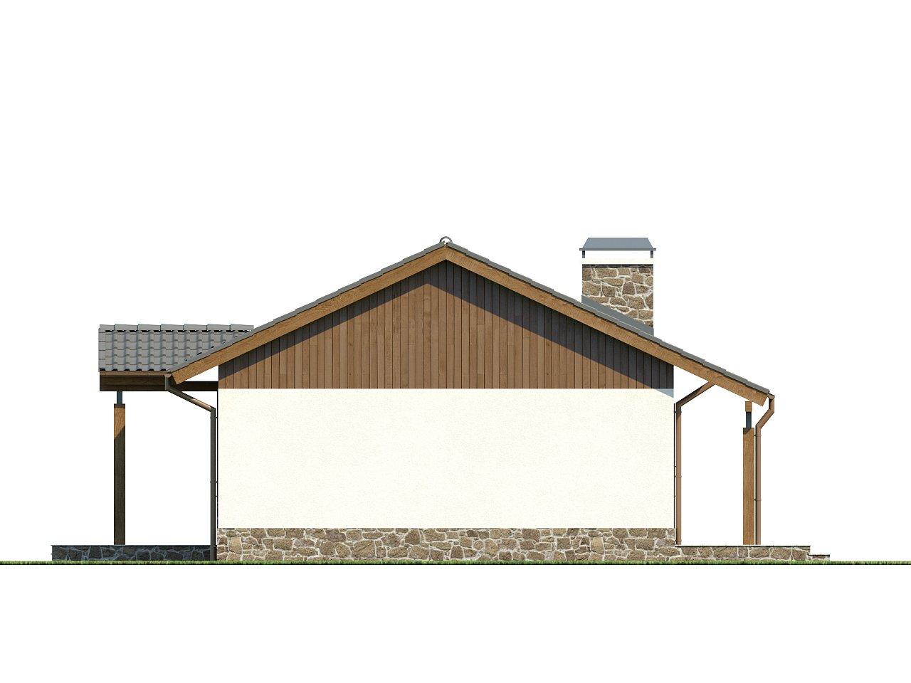 Экономичный в реализации одноэтажный дом с просторной гостиной и двумя спальнями. 14