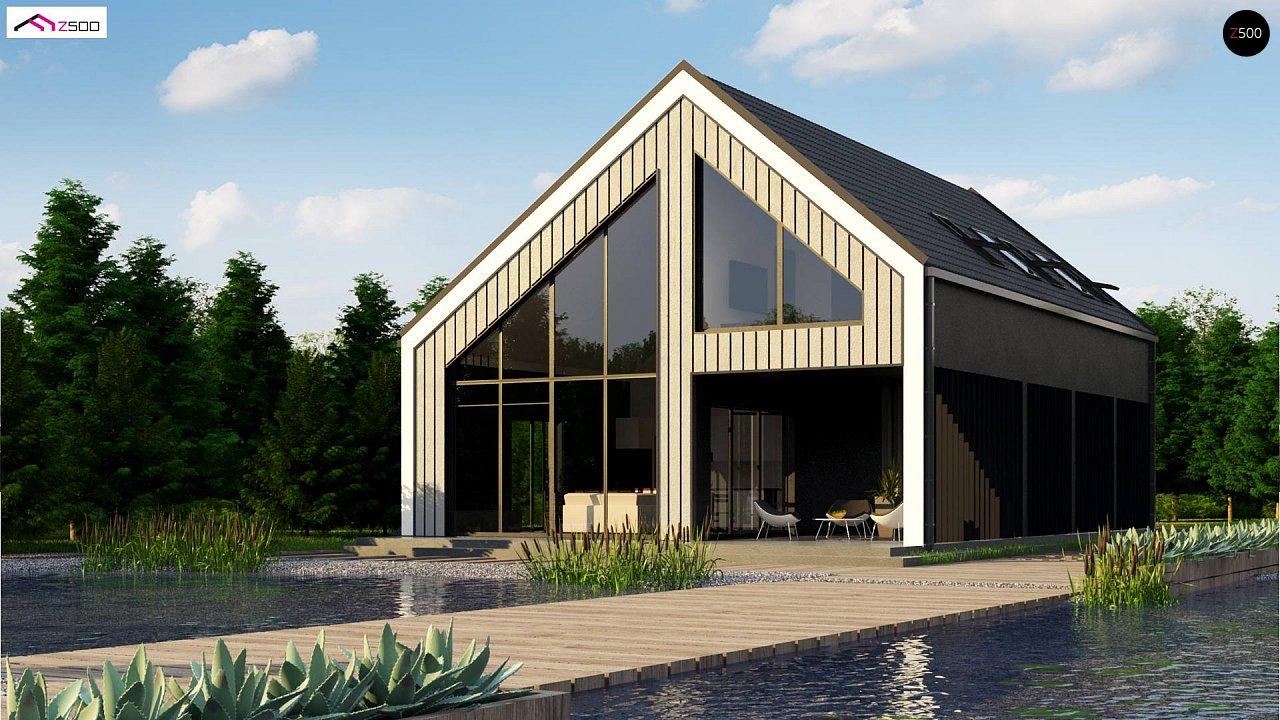 Мансардный дом простой формы с современным оригинальным экстерьером. - фото 1