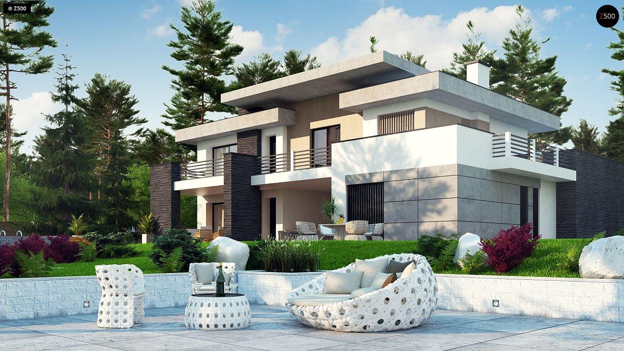 Красивый и комфортный дом с плоской кровлей, гаражом на две машины и просторными террасами. - фото 3