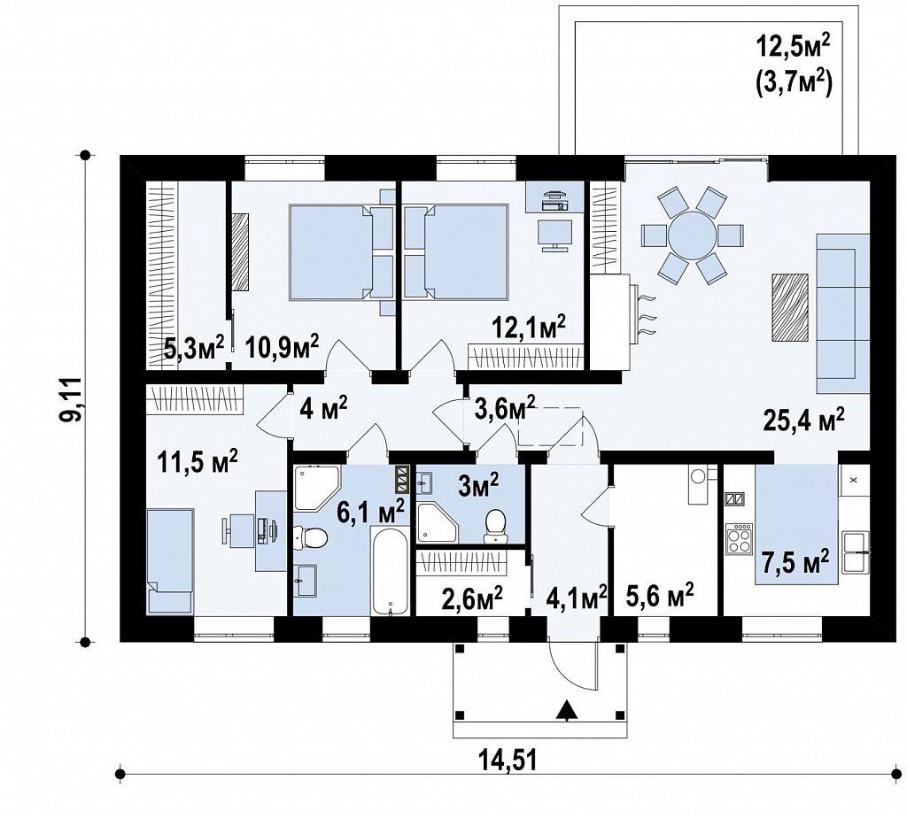 Аккуратный одноэтажный дом с деревянной отделкой на фасадах. план помещений 1