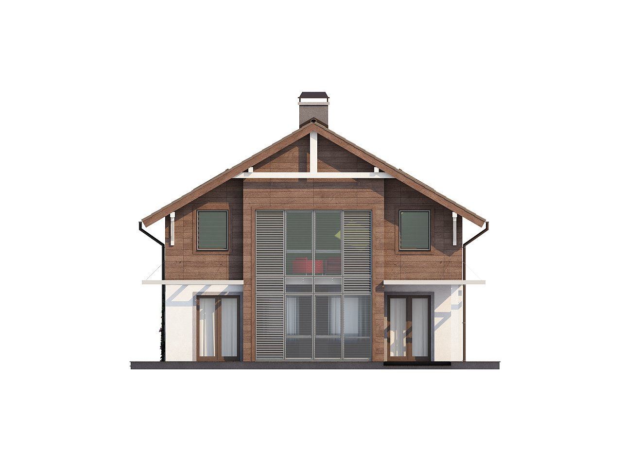 Проект двухэтажного дома с большой площадью остекления. 7