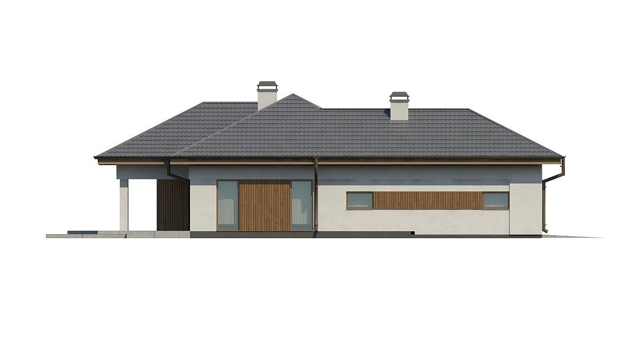 Одноэтажный дом с многоскатной крышей, с удобным функциональным интерьером. 11